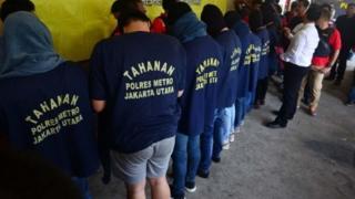 Pria yang ditahan bulan Mei 2017 dalam penggrebekan di sauna dan gym di Jakarta.