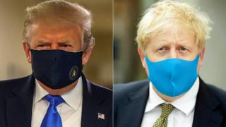 coronavirus vaccine Composite image of Donald Trump and Boris Johnson wearing face masks