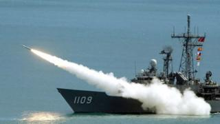 This file photo taken on September 4, 2003 shows a Standard surface-to-air missile being launched from a Perry-class frigate of the Taiwan navy during wargames in the waters off Litzechien, northeastern Ilan county.