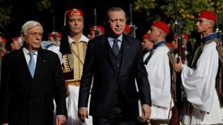 رجب طیب اردوغان، رئیس جمهوری ترکیه و پروکوپیس پاولوپولوس رئیسجمهوری یونان