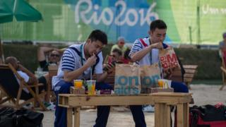 Olympic team from Chinese Taipei eat fast food in athletes village of Rio Olympic Games on August 1, 2016