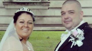 Wendy and Christopher Rowles on their wedding day
