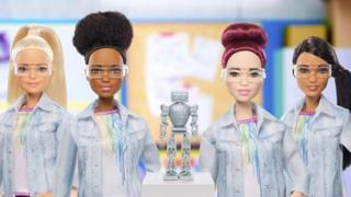 The Robotics Engineer Barbie range, which shows dolls of different hair and skin colours - all wearing laboratory eye protection