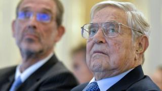 US investor George Soros (R) in Vienna, Austria, on November 19, 2018