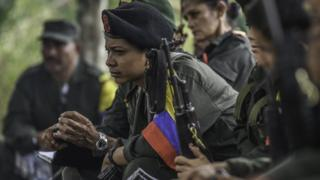 Revolutionary Armed Forces of Colombia (Farc) guerrillas at a camp in the Colombian mountains, 18 February 2016