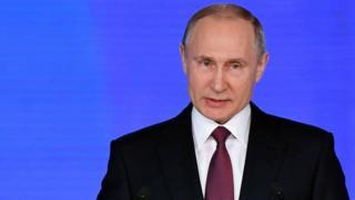 El presidente de Rusia, Vladimir Putin, 1 de marzo de 2018 .