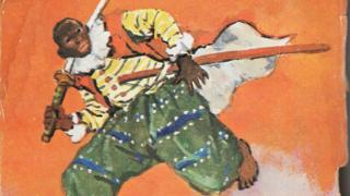 A drawing of Yasuke, a dark-skinned man with a sword
