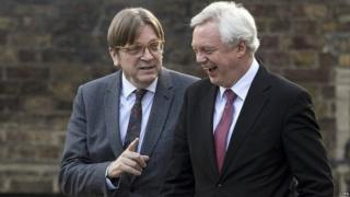Guy Verhofstadt speaking to David Davis