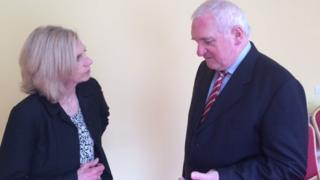 Carole Walker speaking to former Irish prime minister Bertie Ahern