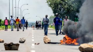 Burning barricade during a demonstration on January 14, 2019 in Bulawayo