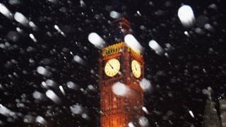 Биг Бен в снегу