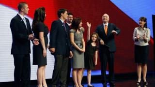 Sarah Palin and her family appear on stage at Republican National Convention in 2008 with Mrs Palin's running mate John McCain