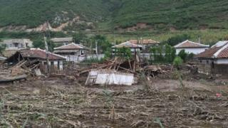 Пострадавшие от наводнения регионы КНДР