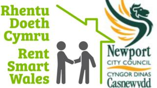 Rent Smart Wales and Newport Council logos