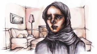 Illustration of Aminah (not her real name) in her home