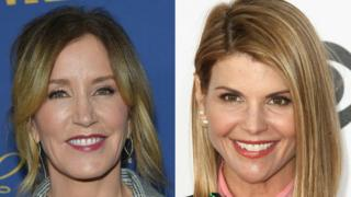 US actresses Felicity Huffman (L) and Lori Loughlin
