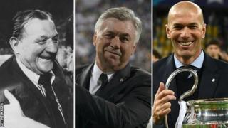 Bob Paisley, Carlo Ancelotti and Zinedine Zidane (left to right)