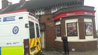 Police outside Ming Moon in Wolverhampton