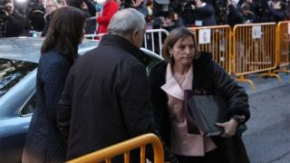 Former speaker of Catalonia's sacked parliament Carme Forcadell arrives at the Supreme Court in Madrid on 9 November 2017