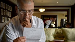 Martin Hopley in the Knight's Bar in central London, where he likes to write replies to the most sensitive letters he receives