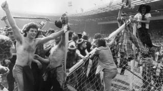 Scottish football fans invade pitch 1977