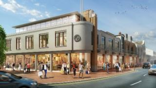 Artist's impression of the outside of the shopping centre extension