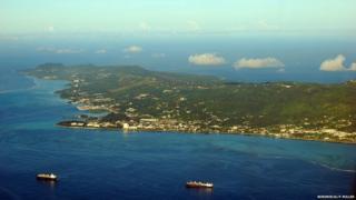 An aerial view of Saipan