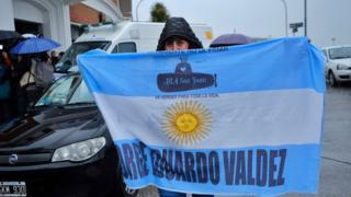 A relative of a crew member of the ARA San Juan submarine as she arrives at a Navy hotel in Mar del Plata, Buenos Aires province, Argentina, on November 17, 2018
