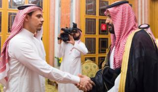 The Saudi crown prince (R) meets Khashoggi's son, Salah, in Riyadh
