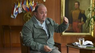 Colombia's Defence Minister Luis Carlos Villegas speaks during an interview with AFP in Bogota on 28 December, 2015.