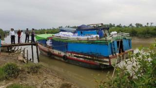 Picture of an ICRC aid boat at Sittwe in Myanmar