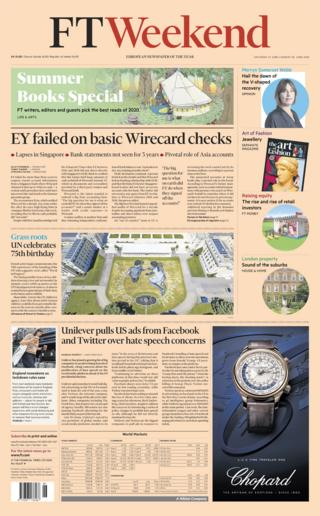 Financial Times front page - 27/06/20