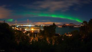 Paul Baralos took this picture showing the Aurora taken above South Queensferry and showing all three crossings of the Firth of Forth