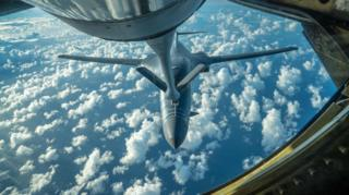 A US Air Force B-1B Lancer is refuelled during a 10-hour mission from Andersen Air Force Base, Guam, into Japanese airspace and over the Korean Peninsula, 30 July 2017