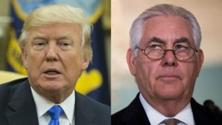 Donald Trump y Rex Tillerson en dos fotos diferentes.