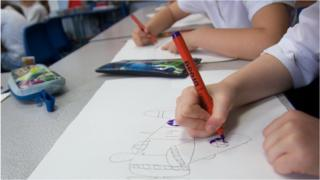 A school pupil working