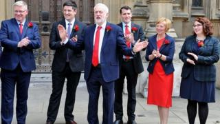 The Labour leader with some of his newly elected MPs in Westminster