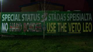 The bi-lingual mural unveiled by Sinn Féin in west Belfast on Thursday night