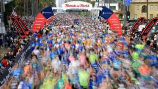 Competitors in the Rock 'n' Roll Marathon in San Diego