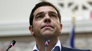 Greek Prime Minister speaks to lawmakers at a party's meeting in the Greek Parliament in Athens, Greece on 16 June