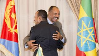 Ethiopia's Prime Minister Abiy Ahmed (L) and Eritrean President Isaias Afwerki (R) hugging in Asmara, Eritrea - Monday 9 July 2018