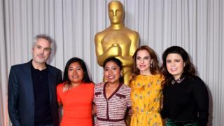 Alfonso Cuarón, Nancy Garcia Garcia, Yalitza Aparicio, Marina de Tavira y Gabriela Rodríguez