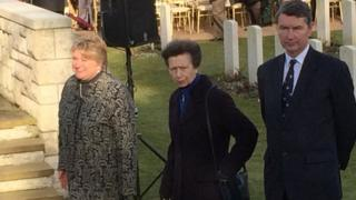 Princess Anne (centre) and her husband Vice Admiral Sir Timothy Lawrence (right)