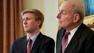 Nick Ayers (L), chief of staff to U.S. Vice President Mike Pence, and White House Chief of Staff John Kelly look on as U.S. President Donald Trump holds a cabinet meeting