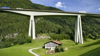 Motorway viaduct in the Alps, Italy