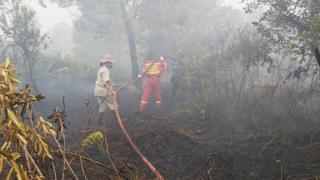 Pemadaman lahan gambut yang terbakar