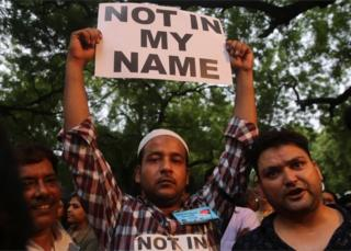 "Indian people hold placard during a ""Not in my Name"" protest against spate of anti-muslim killings in India,in New Delhi, India, 28 June 2017"