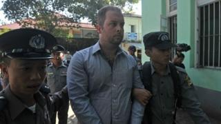 Phil Blackwood at court in Yangon (18 Dec 2014)