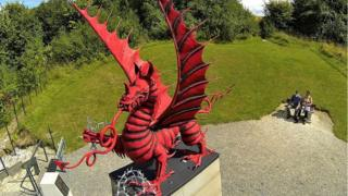 Statue of a Welsh Dragon in Mametz, in memory of the 38th Welsh Division