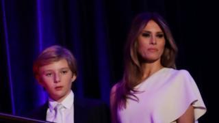 Donald, Barron y Melania Trump